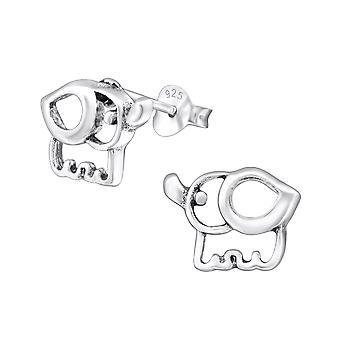 Elephant - 925 Sterling Silver Plain Ear Studs