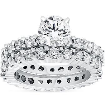 4ct Diamant Ewigkeit Verlobungsring Set 14K White Gold