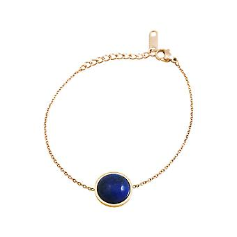 GEMSHINE ladies bracelet with lapis lazuli. Adjustable bracelet made of silver, gold plated, rose. High-quality processed in an eldlen pouch with gift wrapping