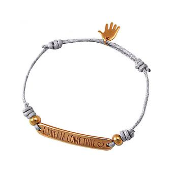 -Bracelet - engraved - A DREAM COME TRUE - rose gold plated - light grey
