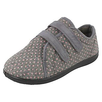 Ladies Padders Slipper Shoes Duo - Grey Textile - UK Size 6 2E/3E - EU Size 39 - US Size 8