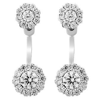 Orphelia Silver 925 Earring Front/Back Flower Zirconium  ZO-7222