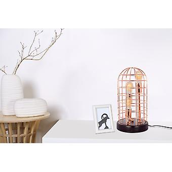 COPPER TABLE LAMP METAL RODS GRID INDUSTRY LOOK DESIGN LAMP LAMP