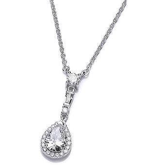 Cavendish French Elegant Drop Cubic Zirconia Necklace - Silver