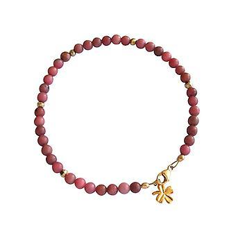 Gemshine - damas - pulsera - piedras preciosas - rosa - el oro - 4 mm