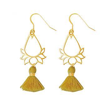 Tassel - gold - YOGA - 4,5 cm gold plated ladies - earrings - earrings - 925 Silver - - Lotus Flower-