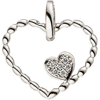 Hanger hart hart 585 goud witgoud 6 diamanten briljante hart hanger