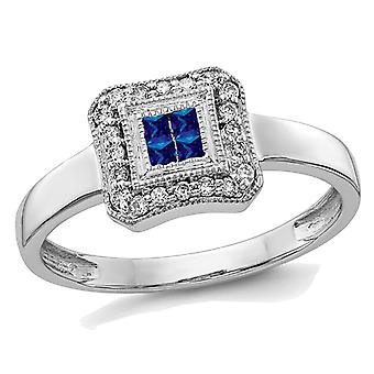 Ladies 1/7 Carat (ctw) Natural Blue Sapphire Ring in 14K White Gold with Diamonds