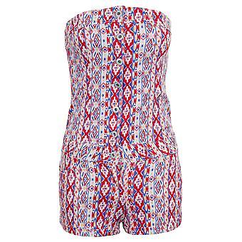 Ladies Boobtube Summer Stripe Printed Denim Shorts Hot Pants Women's Playsuit
