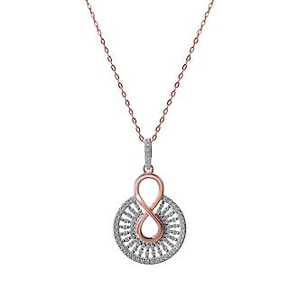 Orphelia 925 Silver Pendant with Chain 42 CM Round with Rose and Zirconium