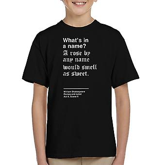 Whats In A Name Romeo And Juliet Shakespeare Quote Kid's T-Shirt