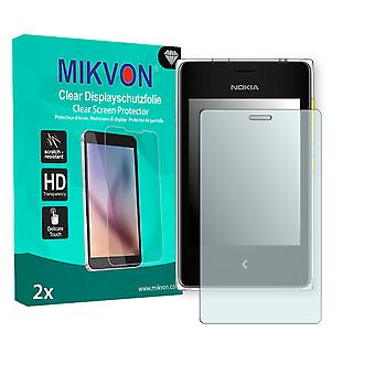 Nokia Asha 502 Dual SIM Screen Protector - Mikvon Clear (Retail Package with accessories)