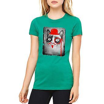 Borrado de gato gruñón Kelly verde divertido t-shirt gruñón mujeres