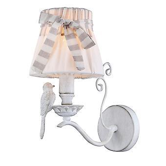Maytoni Lighting Bird Elegant Antique White Wall Sconce With French Style Shade