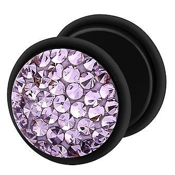 Gefälschte Cheater Ohr Plug schwarz, Ohrring, Körperschmuck mit Multi Kristall Tanzanite lila