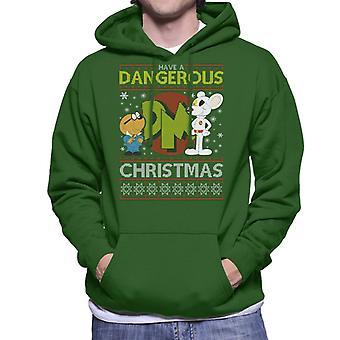 Danger Mouse Dangerous Christmas Knit Pattern Men's Hooded Sweatshirt
