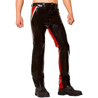 Skin Two Clothing Men's Jeans Pants Classic Cut in Latex Rubber Black & Red