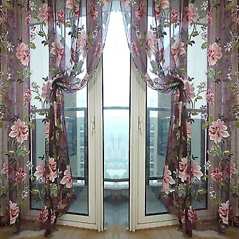 Voile Curtains with flowers (1x2m)