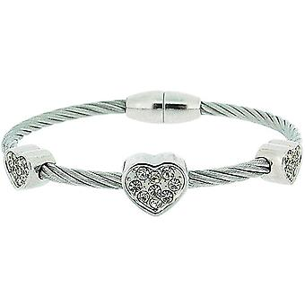 The Olivia Collection Heart Design Wire Style Bangle with Magnetic Closure