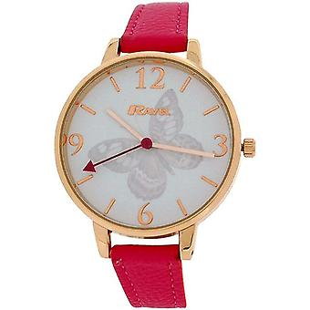 Goldtone Rose de senhoras Ravel borboleta Dial Hot Pink PU Strap Watch R0128.15.2