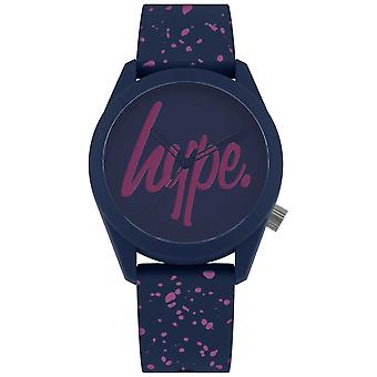 Hype   Womens Navy Purple Paint Silicone Strap   Navy/Purple Dial HYL001UP Watch