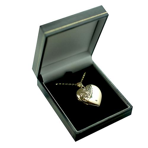 9ct Gold 30x28mm half hand engraved heart shaped Locket with a belcher Chain 16 inches Only Suitable for Children