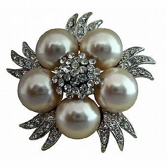 Bridal Simulated Diamond Crystals Pearls Vintage Brooch Pin