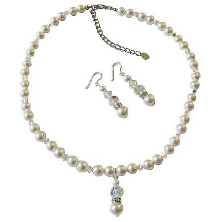 White Pearls Swarovski AB Crystals Bridal Jewelry Handcrafted Necklace