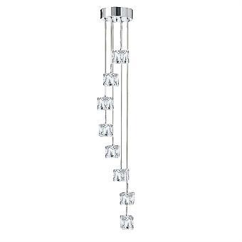 Ice Cube krom och glas LED åtta ljus hänge - Searchlight 6778-8-LED