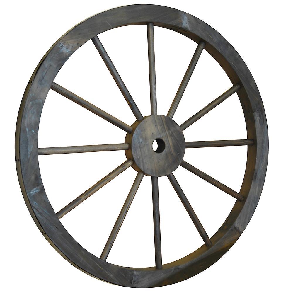 Roue de charrette - décoratif solide bois jardin orneHommest de roue avec jante métal