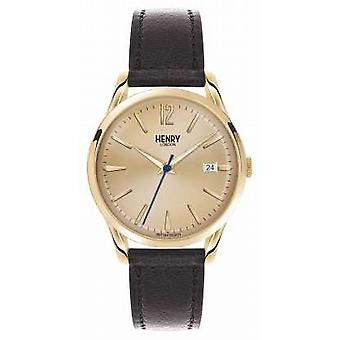 Henry London Westminster brun læderrem Champagne HL39-S-0006 Watch