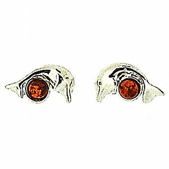 The Olivia Collection Sterling Silver Dolphin Cognac Amber Stud Earrings