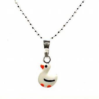 TOC Girls Sterling Silver White Duck Pendant Necklace 14