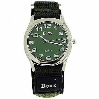 Boxx Gents kaki vert cadran analogique facile fixer sangle réglable Watch BOXX281