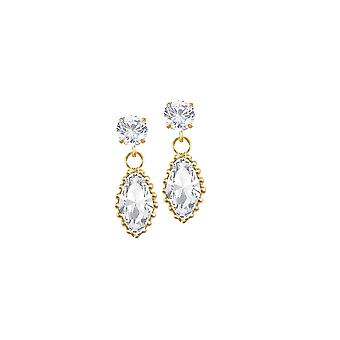 Eternal Collection Inspired Clear Austrian Crystal Gold Drop Clip On Earrings