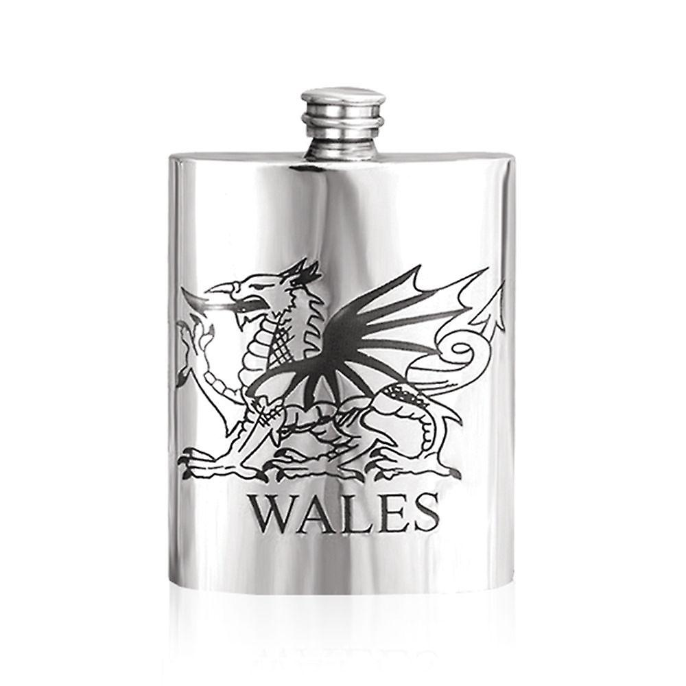 6oz de Gales Dragon peltre frasco - Wal004