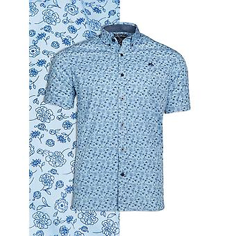 Short Sleeve Floral Print Shirt - Sky Blue