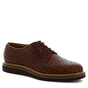 Leonardo Shoes Men's handmade lace-up shoes in brown woven calf leather
