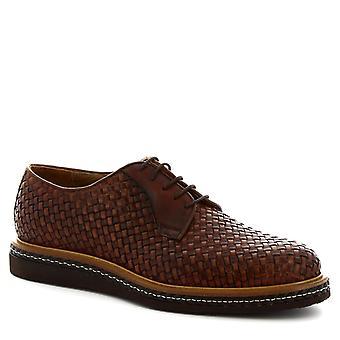 Leonardo skor mäns handgjorda Snörskor i brunt vävt kalv läder