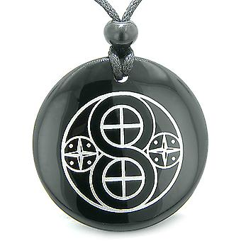 Amulet of Infinite Creation Powers Materializations Energies Black Agate Pendant Necklace