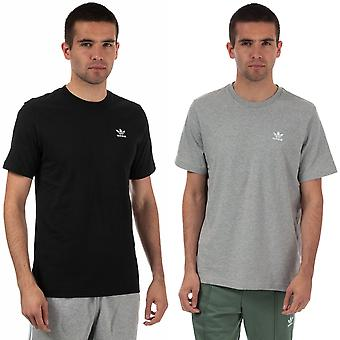 Mens adidas Originals Essential Short sleeve cotton T-Shirts en gris et noir
