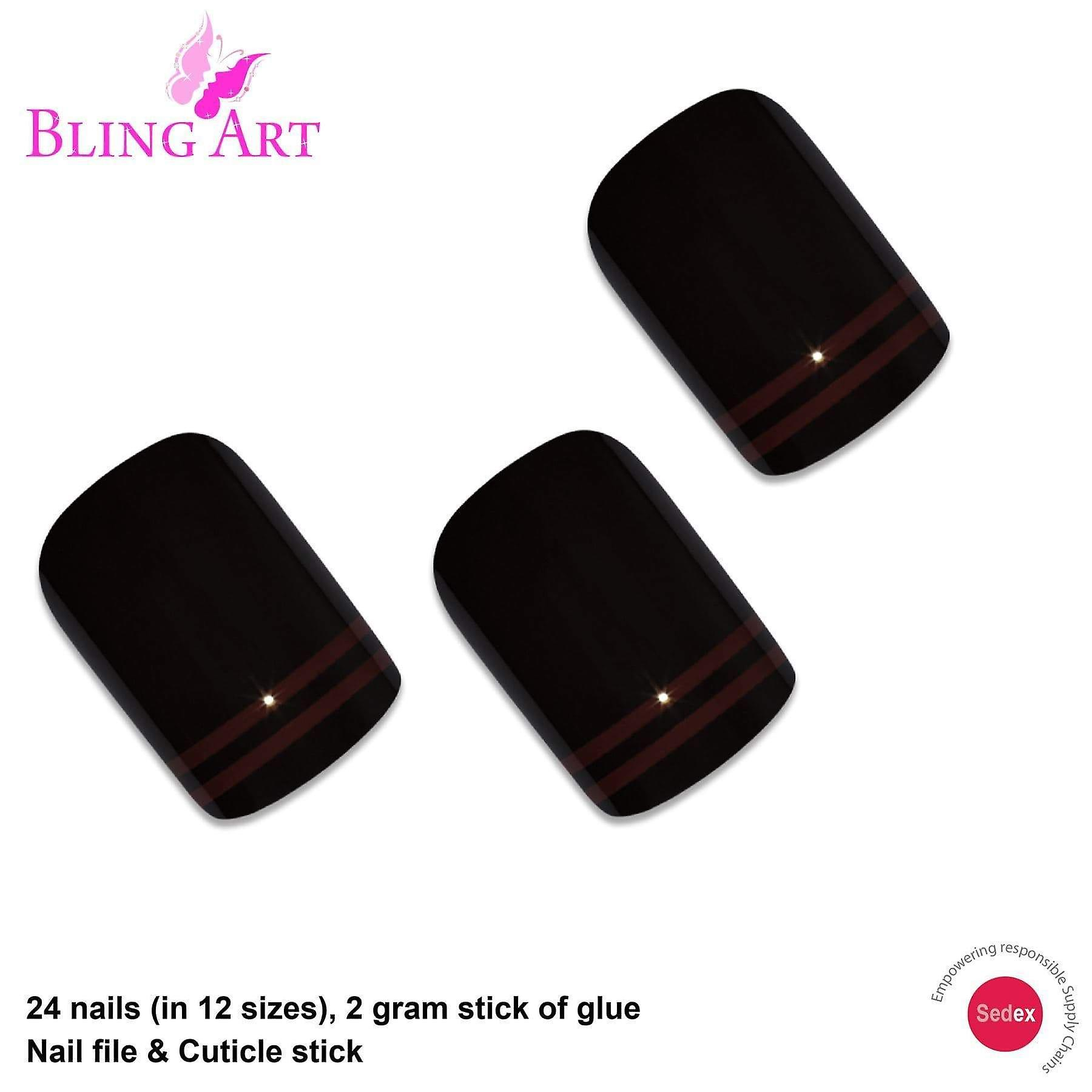 False nails by bling art black red glossy french squoval 24 fake medium tips