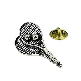 Tennis Rackets Anglais Pewter Lapel Pin Badge