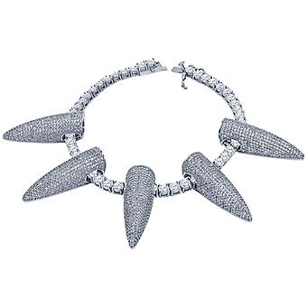 Iced Out Bling 4mm irconia 21cm Bracciale - SPIKES argento