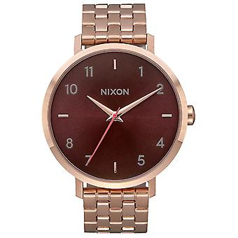 Nixon the arrow watch for Japanese Quartz Analog Woman with stainless steel bracelet plated in A10902617 gold