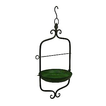 Green Vintage Style Scroll Motif Metal Hanging Bird Feeder