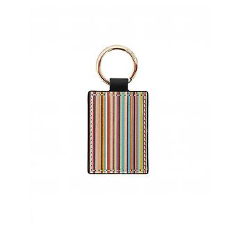 Paul Smith Accessories Black Calf Leather Signature Stripe Keyring
