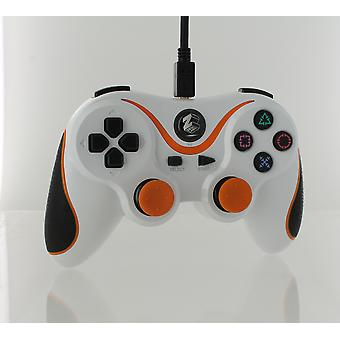 Wired gamepad controller for sony ps3 with extra long 3m cable - white & orange