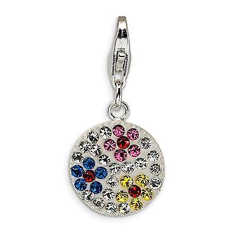 925 Sterling Silver Rhodium-plated Fancy Lobster Closure Multicolored Crystal Flower Disc With Lobster Clasp Charm - Mea