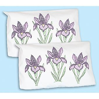 Stamped Pillowcase Shams 2/Pkg-Iris 1685 274